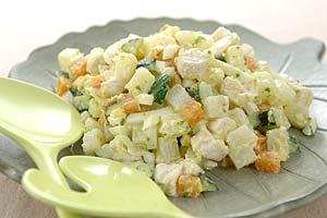 鶏肉とゆで卵のヨーグルトドレッシングサラダ