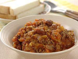 牛ひき肉と金時豆のチリソース