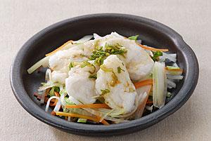 野菜と鶏ササミの湯引き